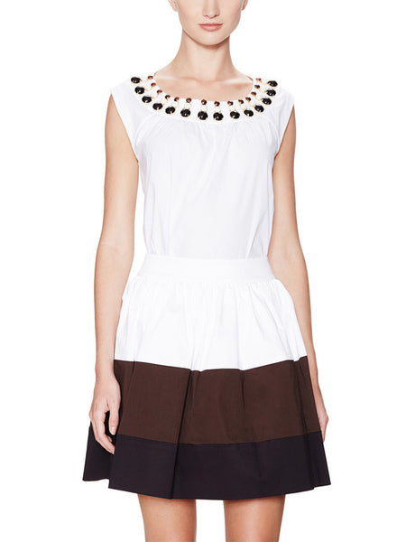 Kate Spade New York 'Rio' Embellished Cotton Cap Sleeve Top