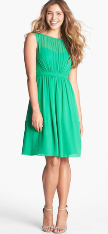 Jenny Yoo Pleat Chiffon Green Dress