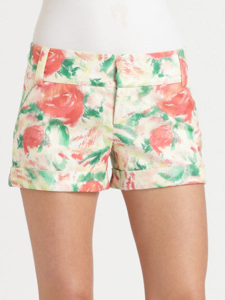 Alice + Olivia Kelly Light Floral Cady Cuff Shorts