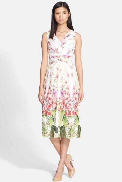 Ted Baker London Risha Mirrored Tropics Pleated Dress