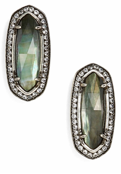 Kendra Scott Aston Stud Earrings in Black MOP & Silver