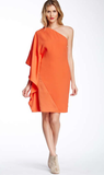Rachel Roy Orange One Shoulder Dress