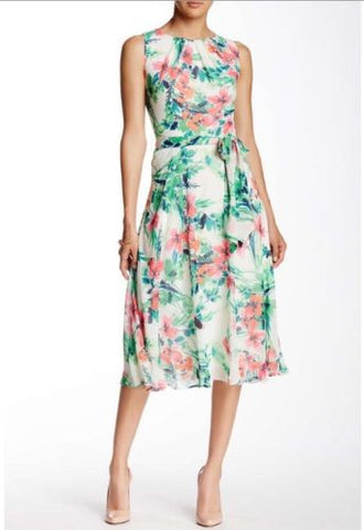 Eliza J Sleeveless Floral Printed Floral Chiffon Midi Dress
