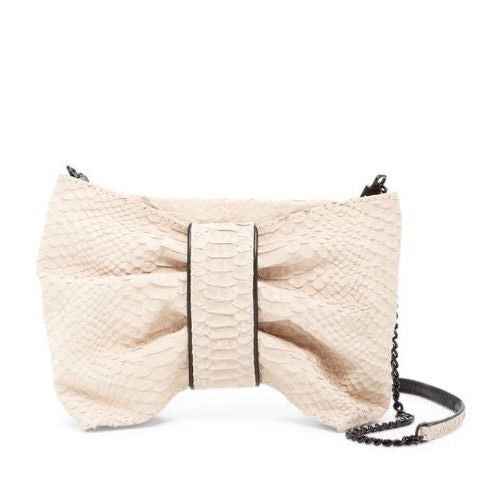 Alice + Olivia Dapey Bow Snake Embossed Nubuck Clutch Bag
