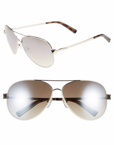 Valentino 'Rockstud' 61mm Aviator Sunglasses