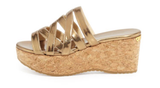 Jimmy Choo 'Nita' Gold Cork Wedge Sandal