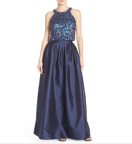 Adrianna Papell Embellished Two-Piece Beaded Ballgown