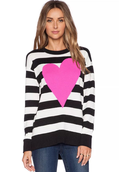 Kate Spade New York Intarsia Heart Striped Sweater