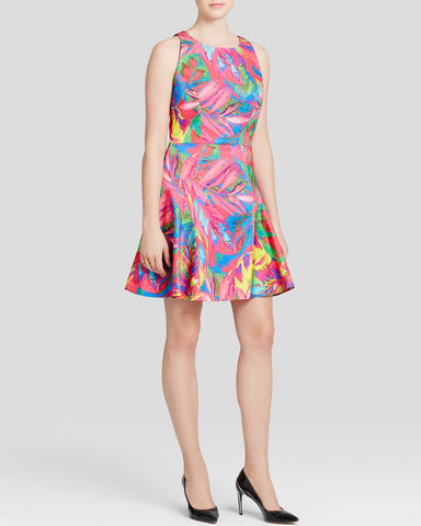Milly Feathers Print Flounce Dress