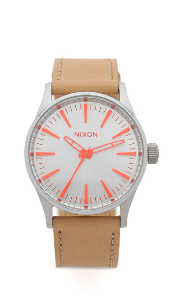 Nixon Sentry 38 Leather Strap Watch