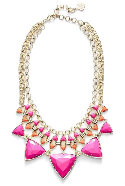 "Kendra Scott ""Emily"" Stone Gold, Pink & Orange Statement Necklace"