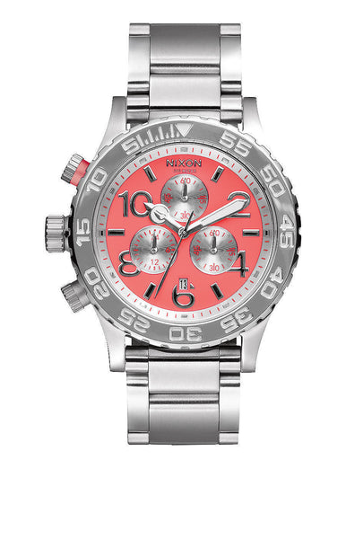 Nixon 42mm Chrono Coral & Silver Women's Watch