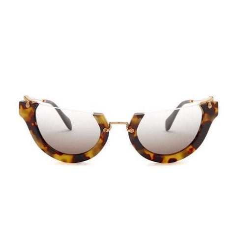 Miu Miu Wink Rasoir Half Rim Cat Eye Square Brown Havana Sunglasses
