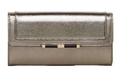 Diane Von Furstenberg Flap Croc Embossed Metallic Leather Wallet