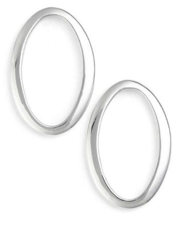 Simon Sebbag Sterling Silver Frontal Oval Hoop Stud Earrings