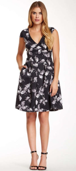 Halston Heritage Floral Printed Surplice Cocktail Dress