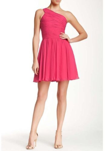 Halston Heritage One Shoulder Chiffon Pink Party Dress