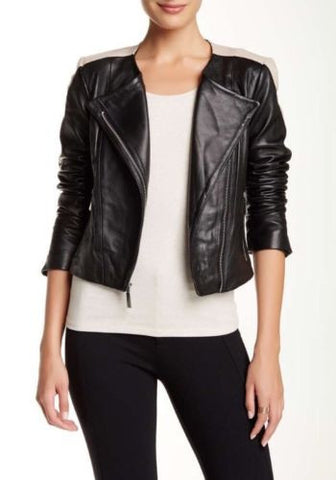 Vince Camuto Moto Lambskin Leather Jacket