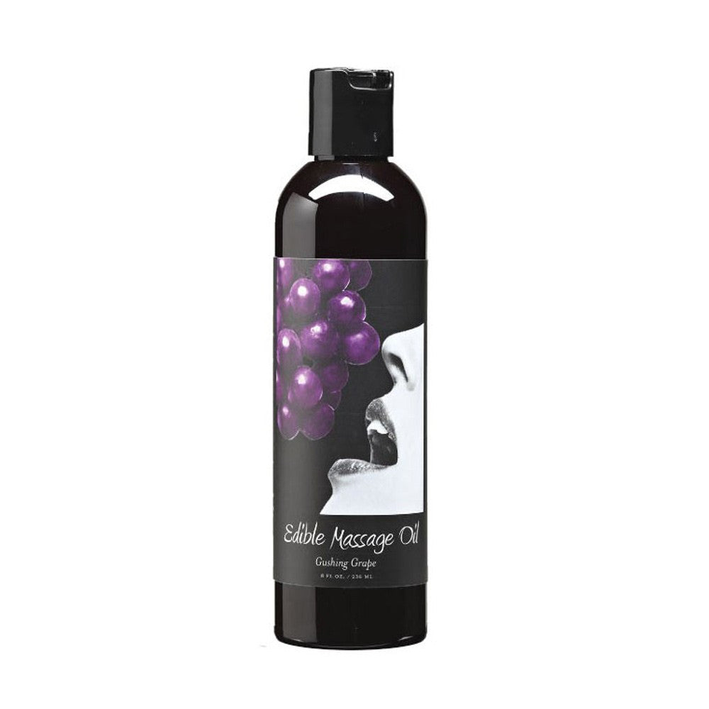Earthly Body Edible Massage Oil 8oz/236ml in Gushing Grape