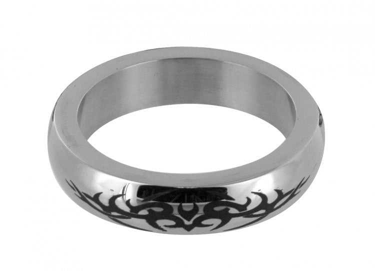 Stainless Steel Cock Ring with Tribal Design- Small