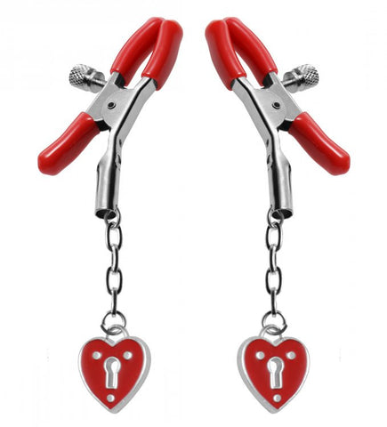 Captive Heart Padlock Nipple Clamps