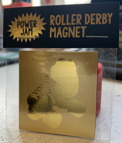 Golden roller derby skate magnetic powers