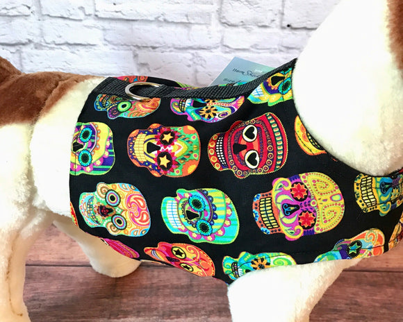 Colorful Skulls Dog Walking Harness