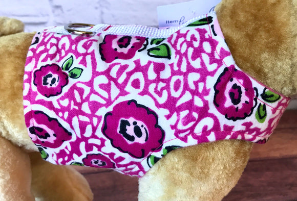 Pink Flowers Dog Walking Harness