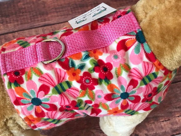 Pretty pink posies Dog Walking Harness