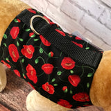Red Poppies Dog Walking Harness