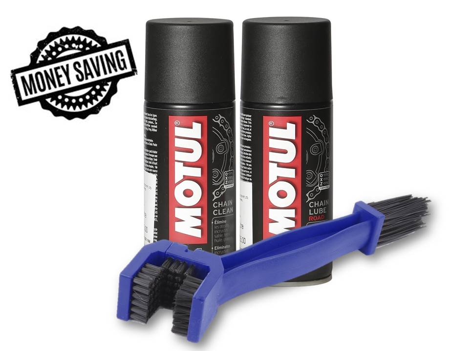 Motul Combo of C2 Chain Lube and C1 Chain Clean (150 ml) with GrandPitstop Bike Chain Cleaning Brush
