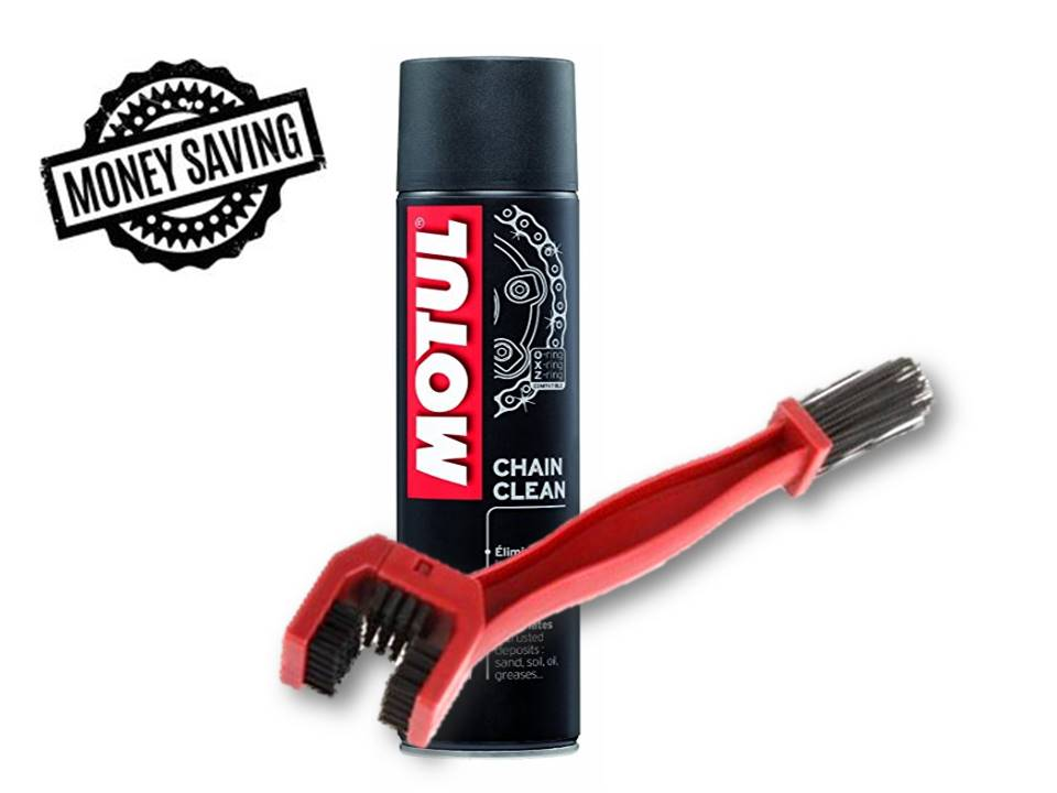 Motul C1 Chain Clean Clube (400 ml) with GrandPitstop Bike Chain Cleaning Brush Red