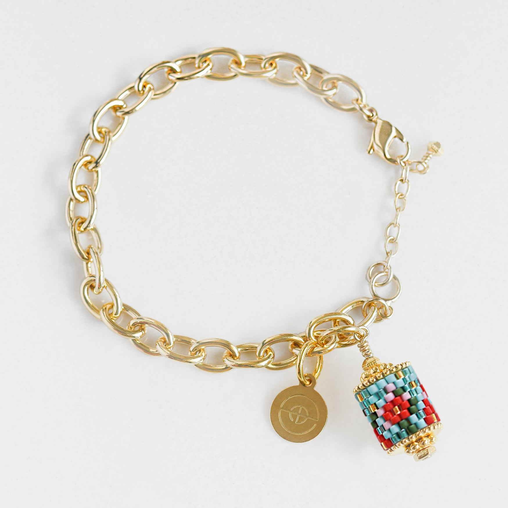 Handwoven gold plated charm bracelets