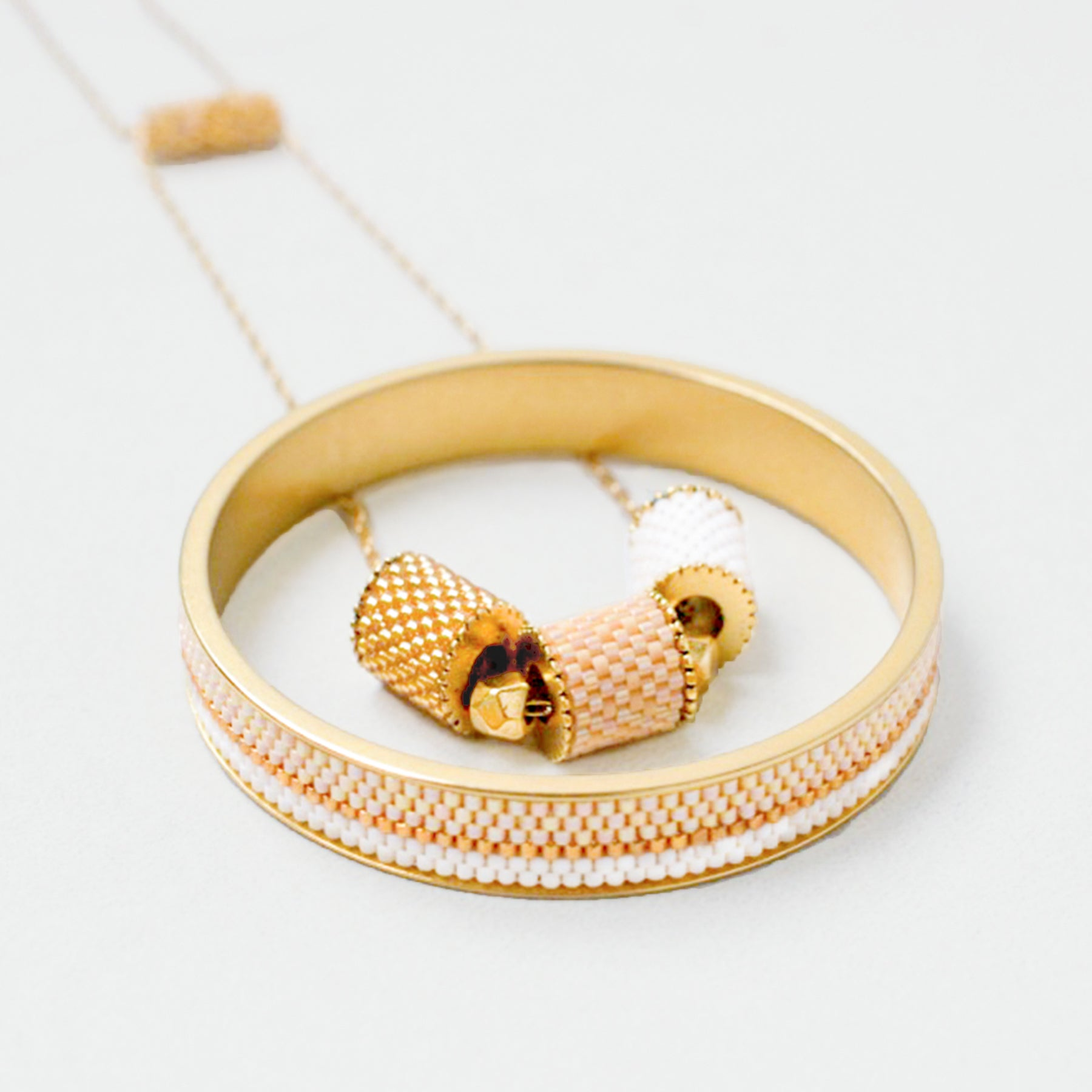 Artisanal jewelry gold plated necklace + bangle sets