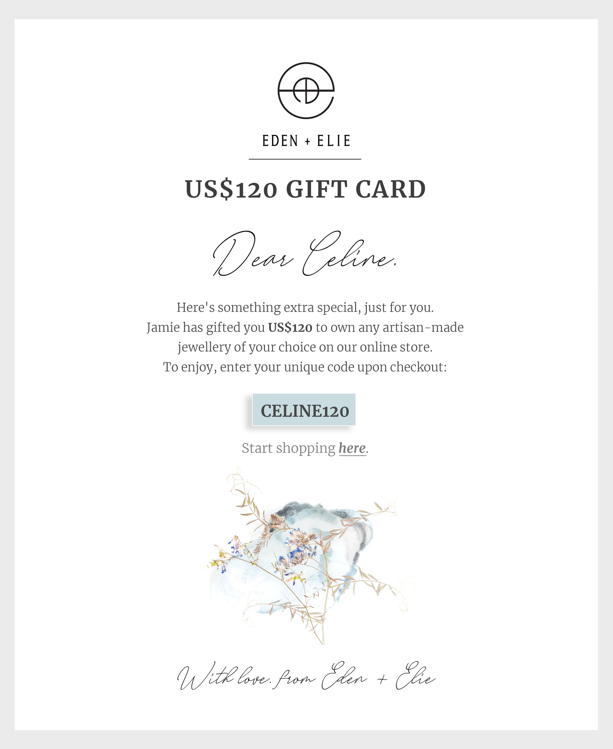 EDEN + ELIE Personalized E-Gift Card - $120