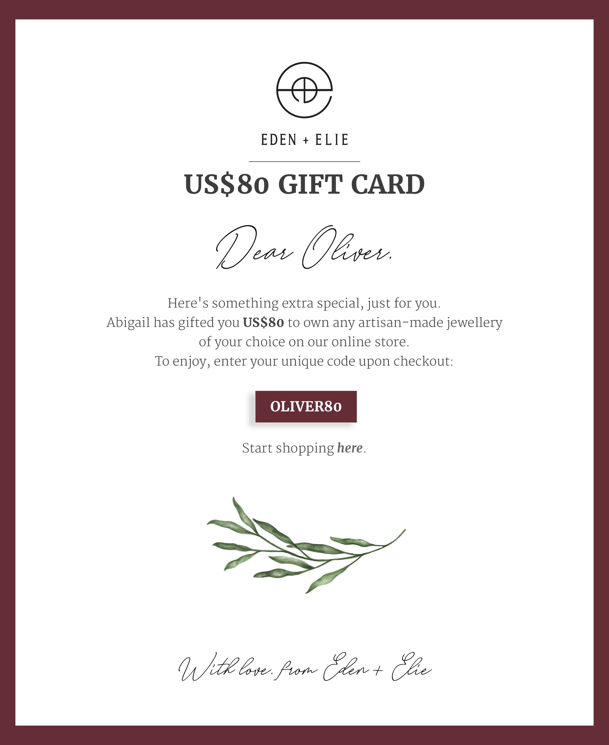 EDEN + ELIE Personalized E-Gift Card - $80