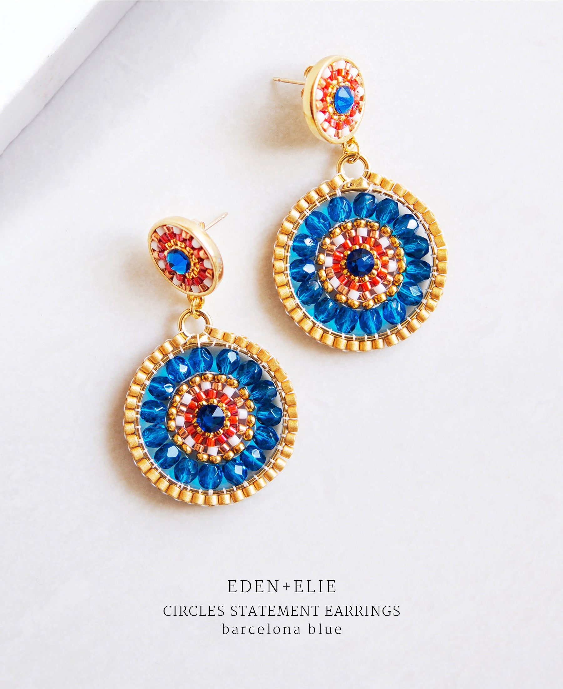 EDEN + ELIE double circle statement drop earrings - barcelona blue