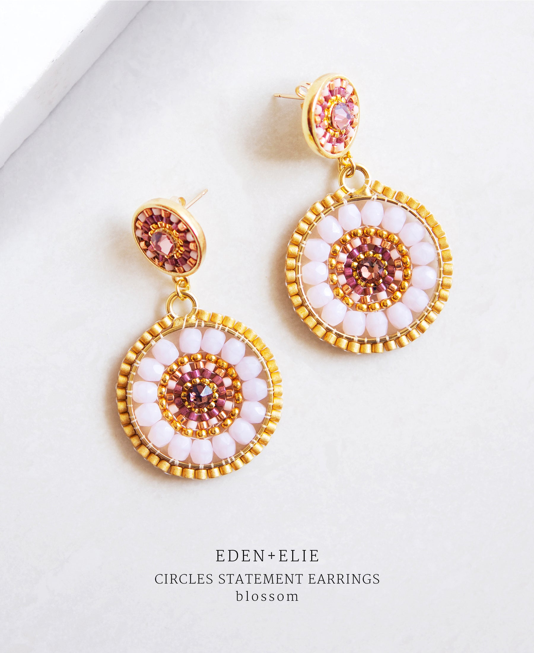 EDEN + ELIE double circle statement drop earrings - blossom pink