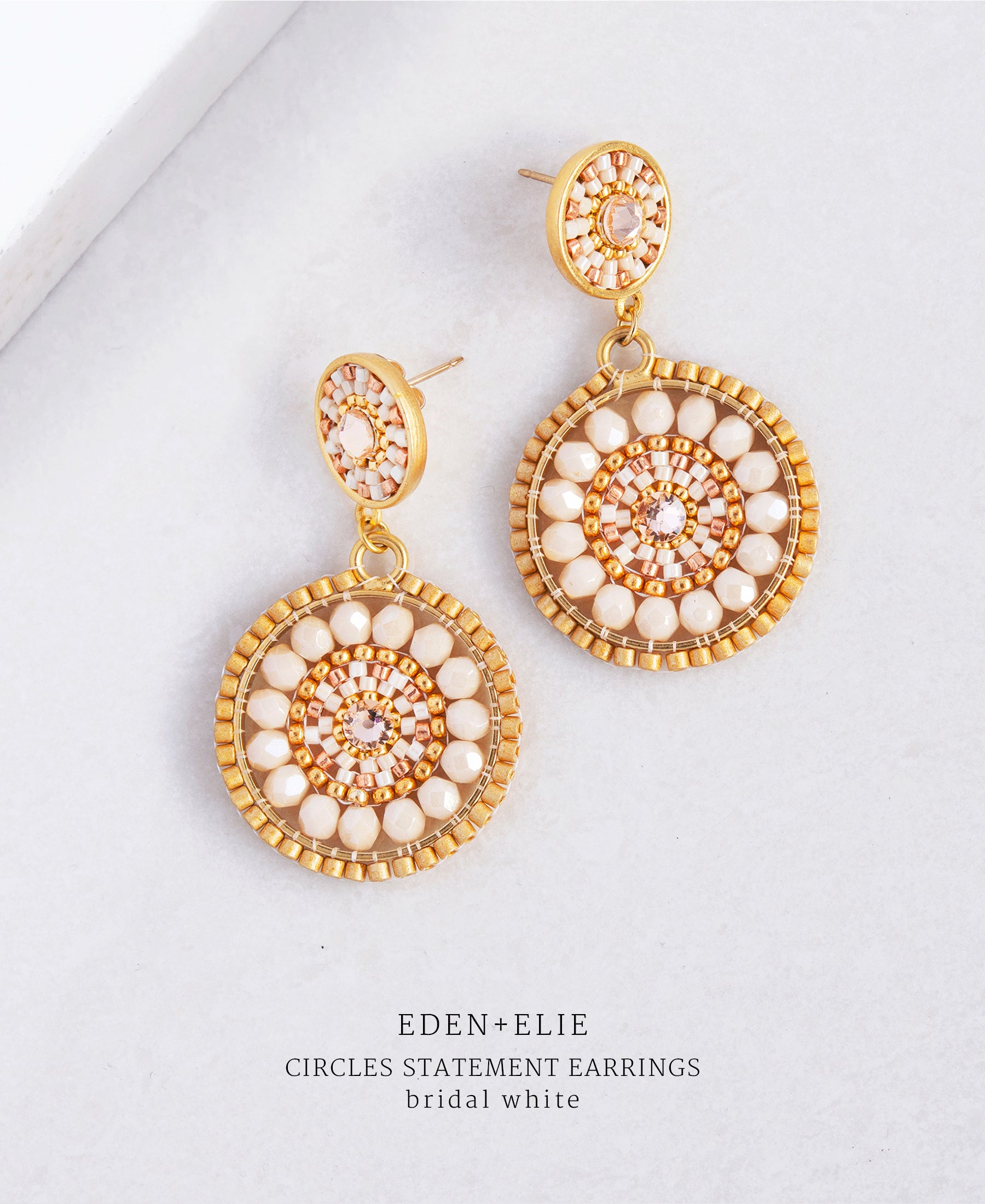 EDEN + ELIE double circle statement drop earrings - bridal white