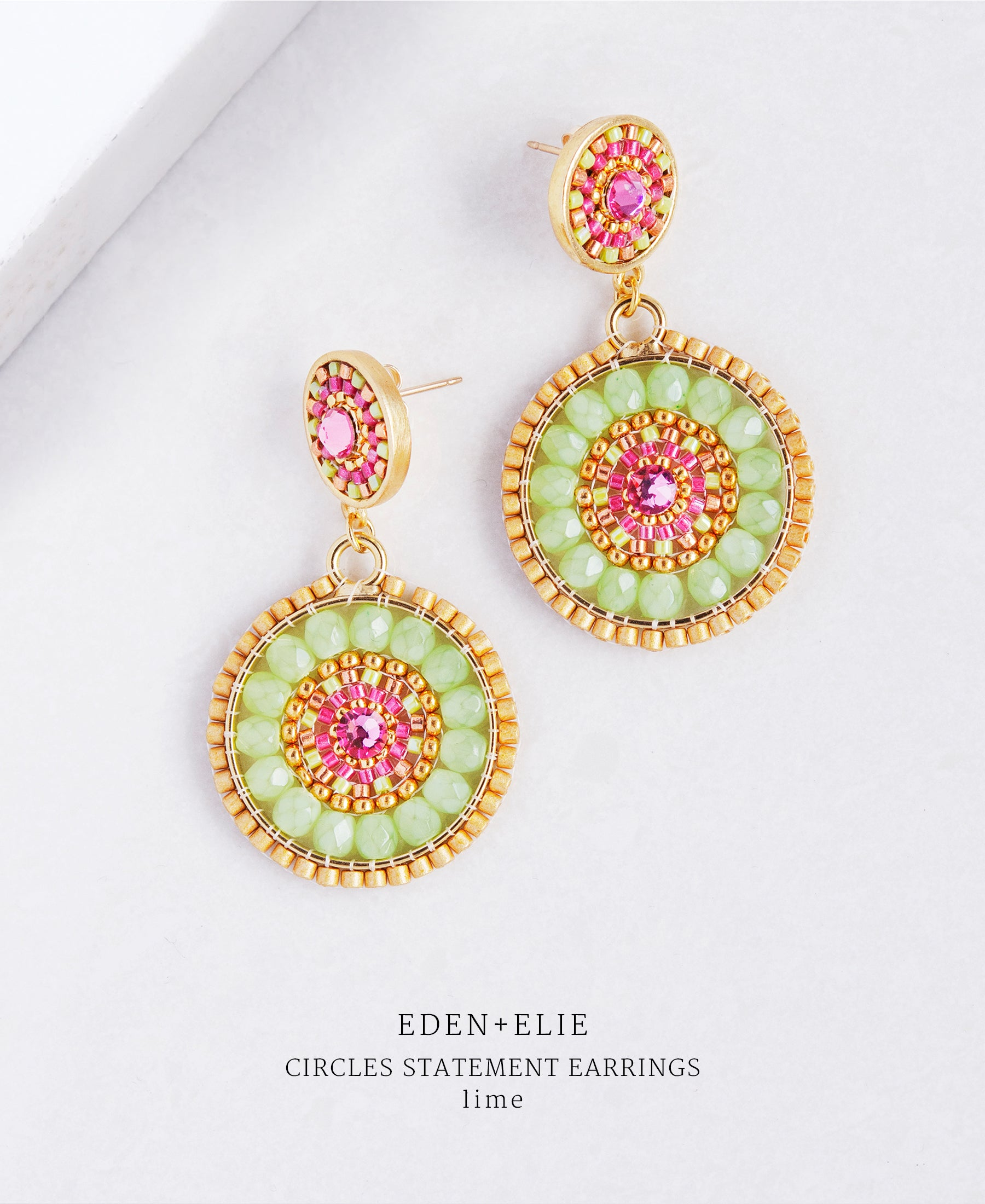 EDEN + ELIE double circle statement drop earrings - lime green