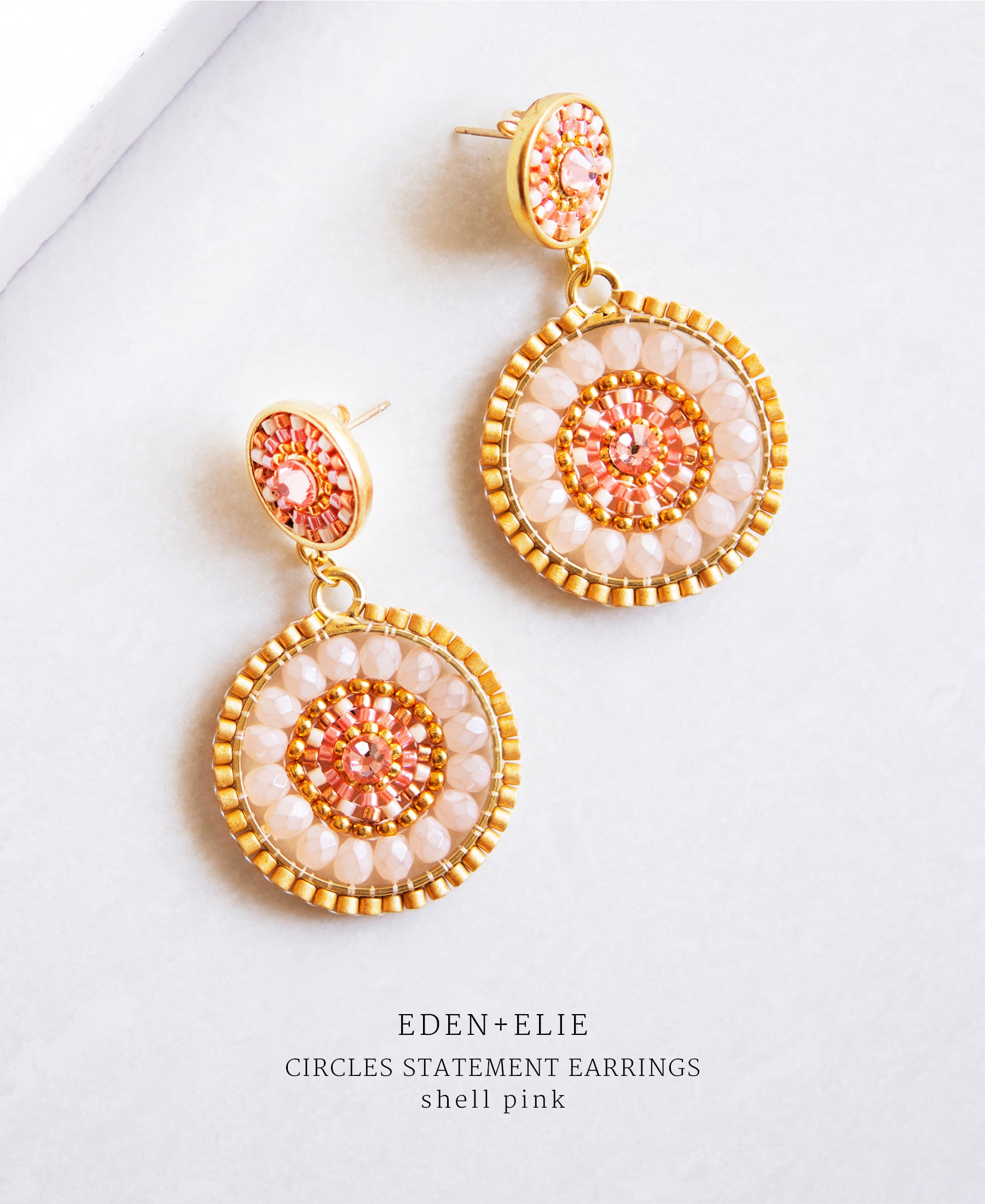 EDEN + ELIE double circle statement drop earrings - shell pink