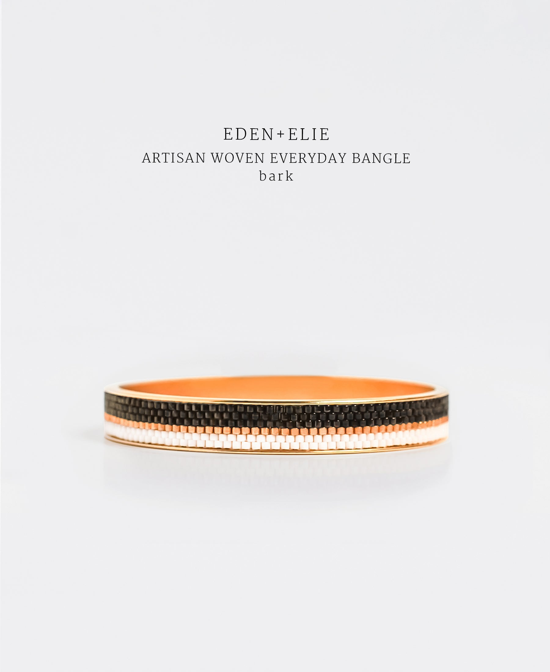EDEN + ELIE Everyday gold narrow bangle - bark brown