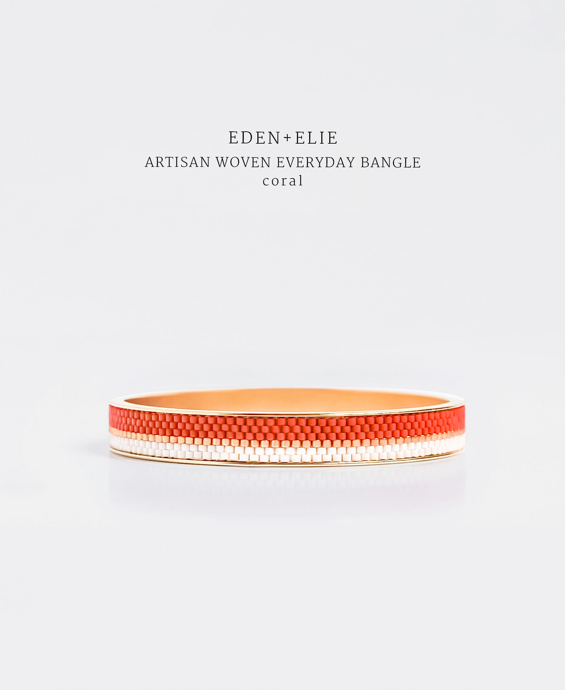 EDEN + ELIE Everyday gold narrow bangle - coral red