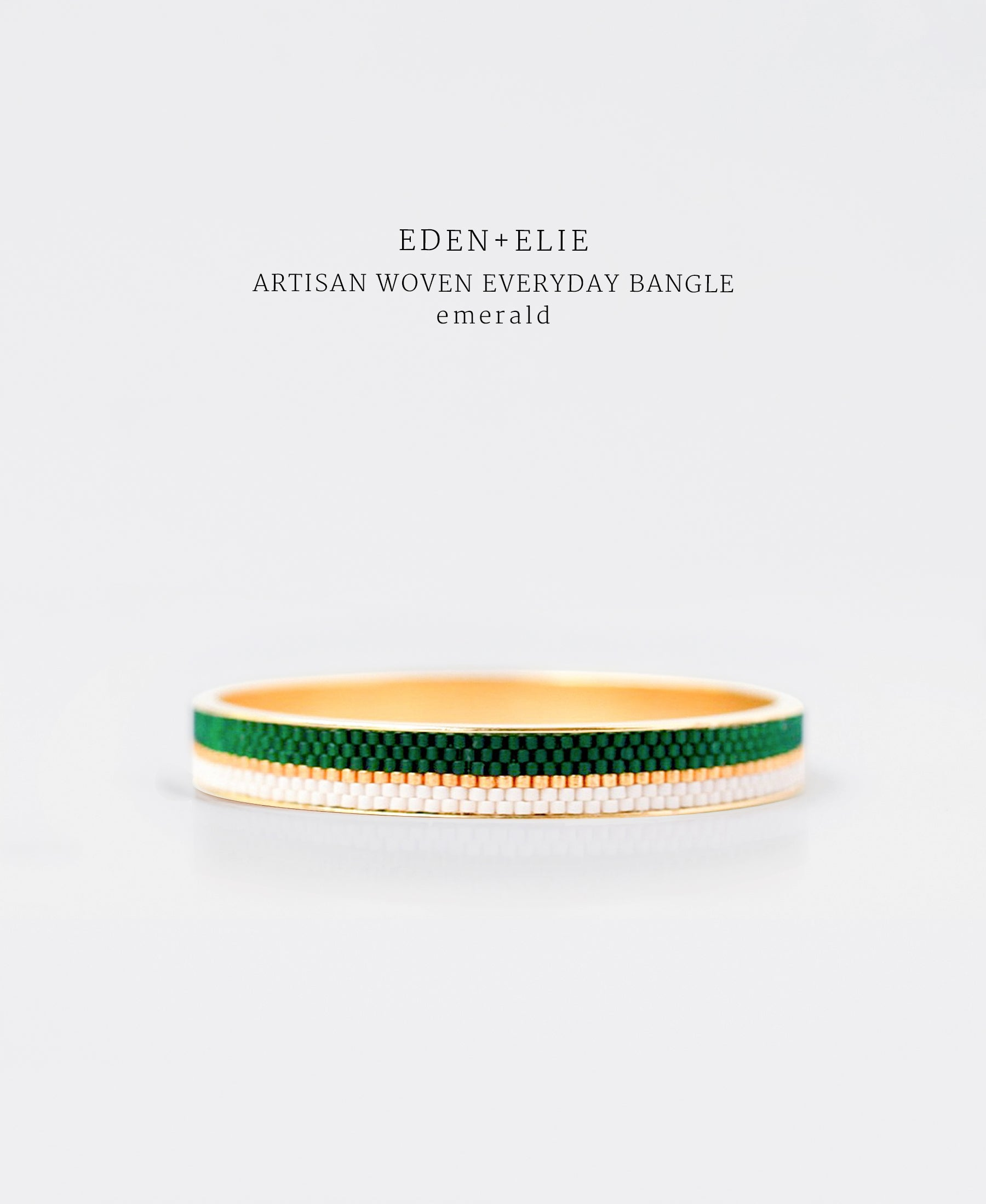 EDEN + ELIE Everyday gold narrow bangle - emerald green
