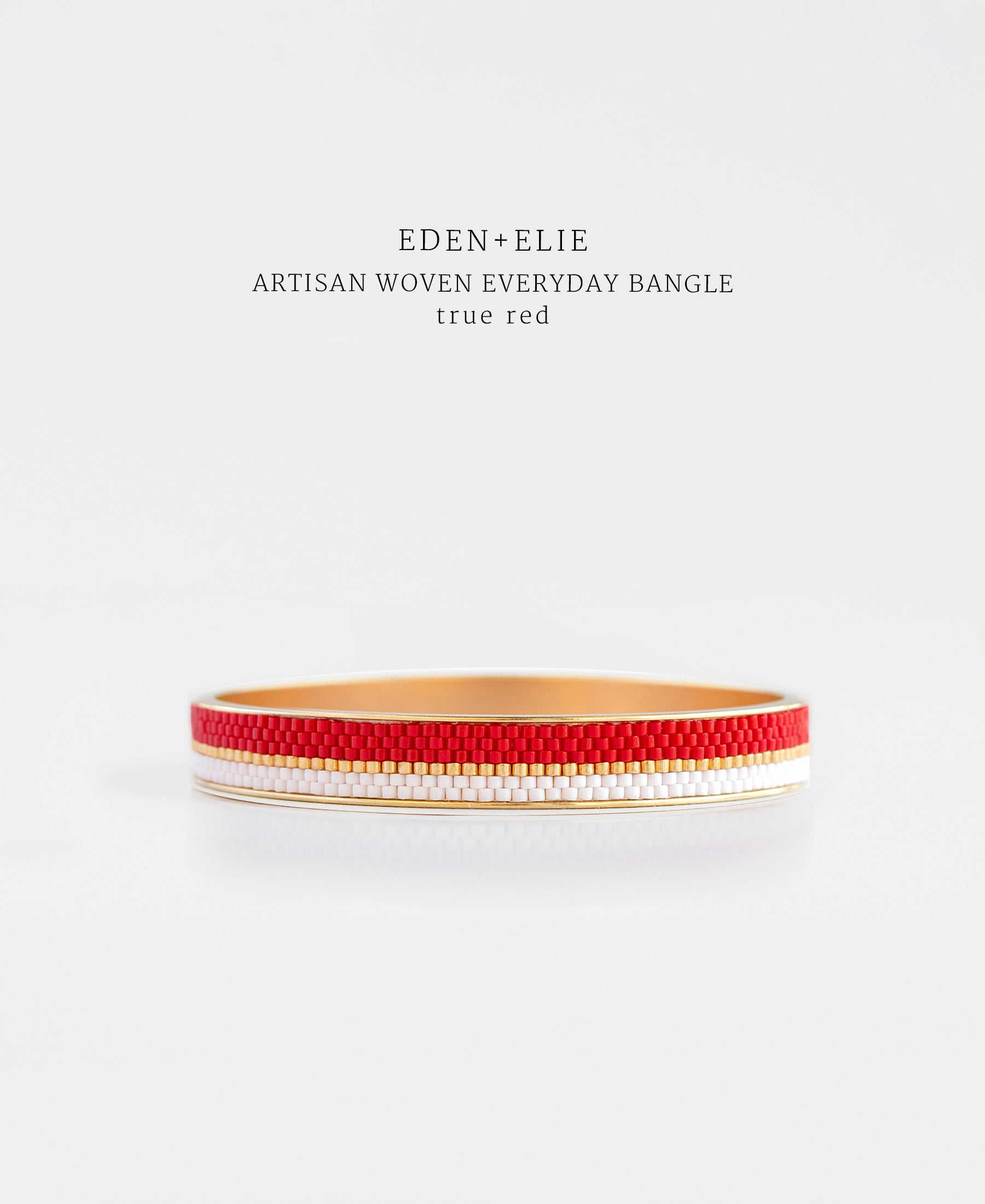 EDEN + ELIE Everyday gold narrow bangle - true red
