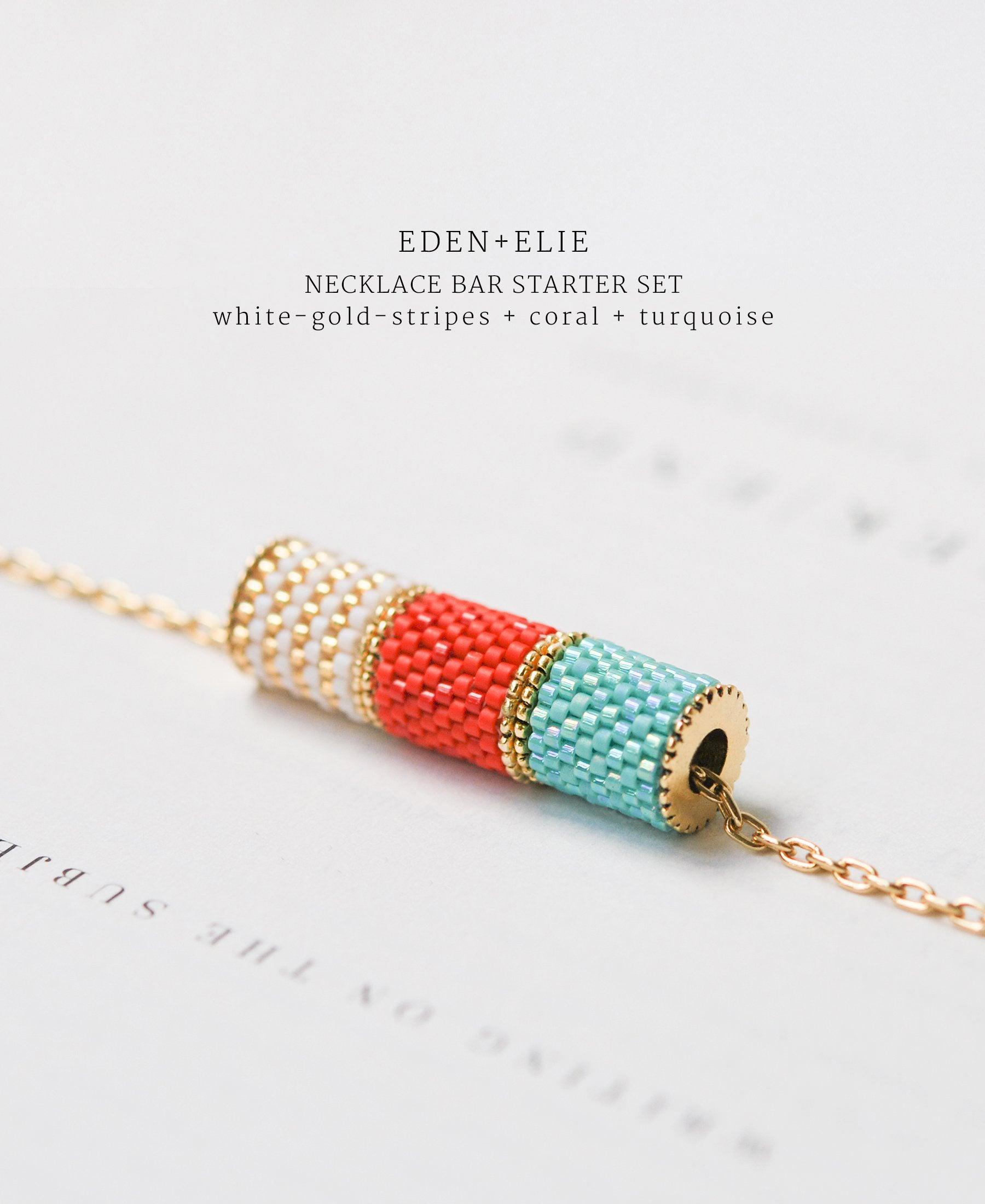 EDEN + ELIE Necklace Bar 3 bead starter set - turquoise + coral + white gold striped