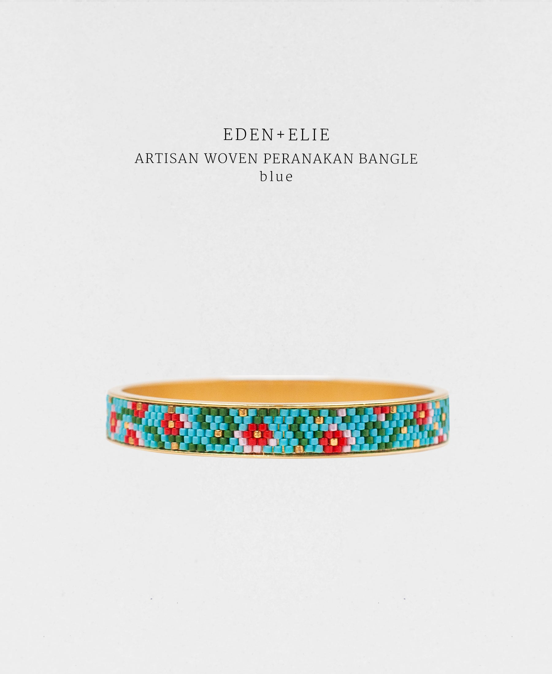 EDEN + ELIE Modern Peranakan gold narrow bangle -  blue