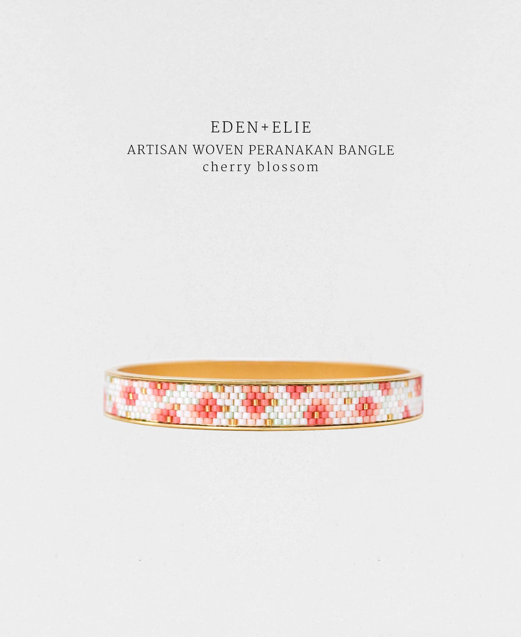 EDEN + ELIE Modern Peranakan gold narrow bangle - cherry blossom