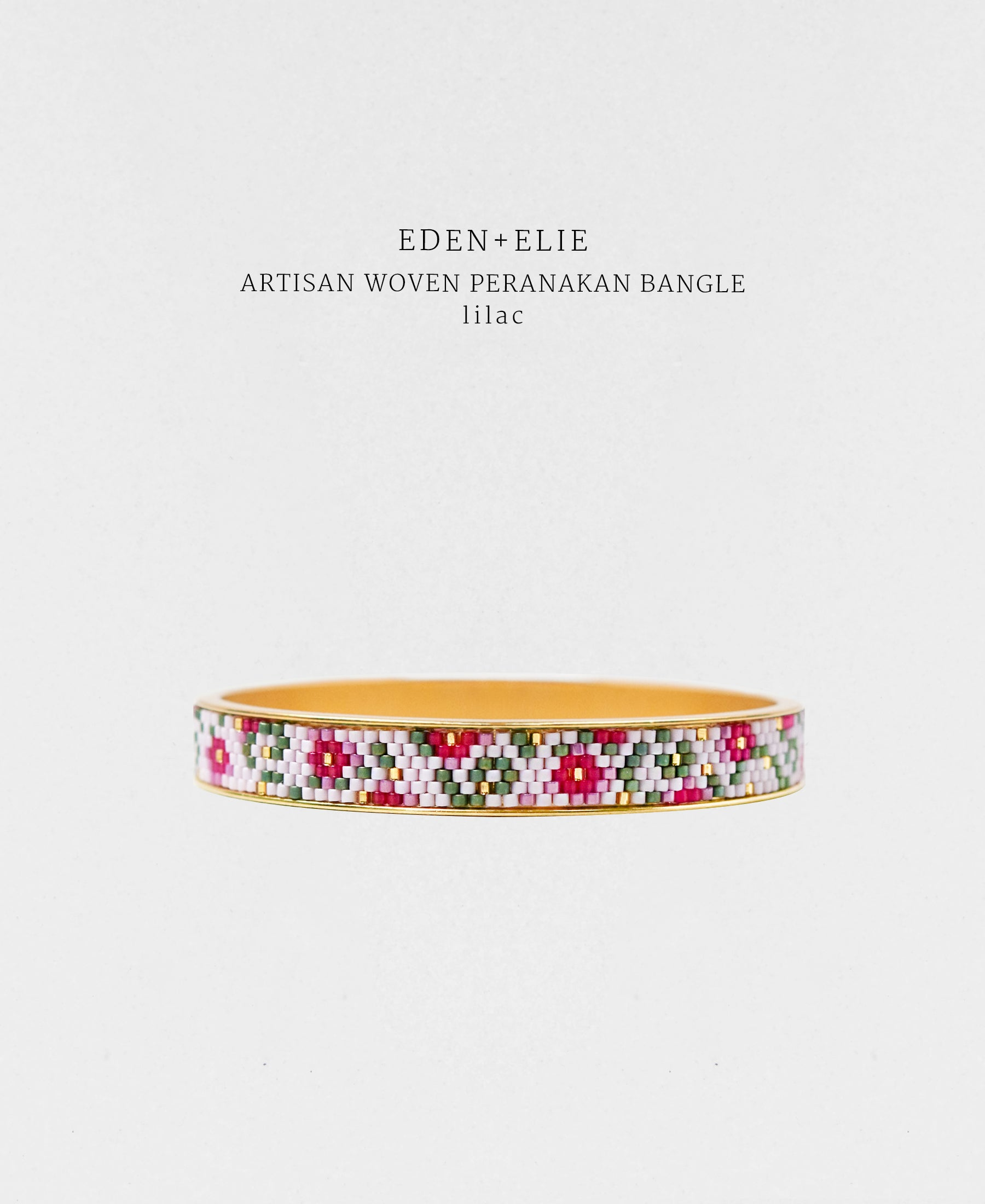 EDEN + ELIE Modern Peranakan gold narrow bangle - lilac