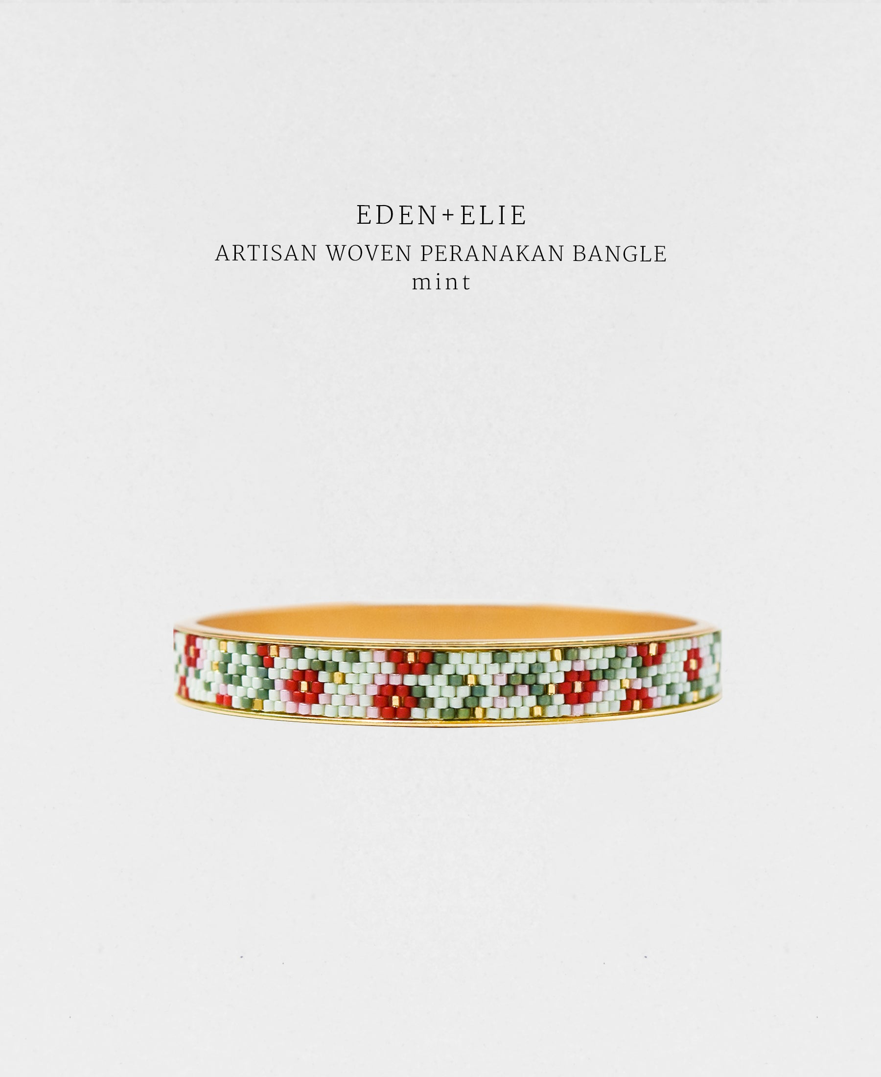EDEN + ELIE Modern Peranakan gold narrow bangle - mint
